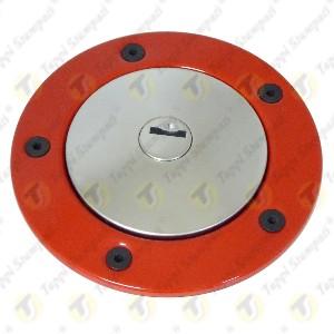 Tappo benzina per serbatoio moto 240.2V7.BKE con chiave e bocchettone con flangia rossa passaggio 40mm